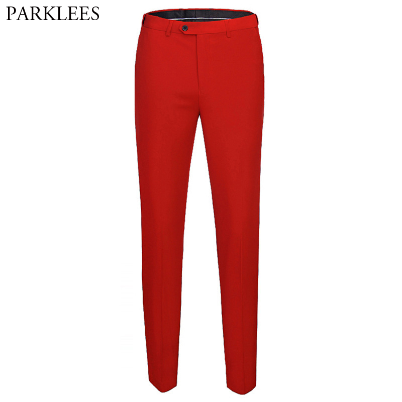Red Slim Fit Suit Pants Men 2019 Brand New Slim Fit Flat-Front Dress Pants Mens Wedding Groom Casual Straight Trousers For Male