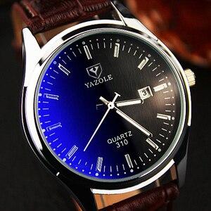 Часы наручные YAZOLE 2020 Мужские кварцевые, роскошные брендовые модные спортивные, с кожаным ремешком