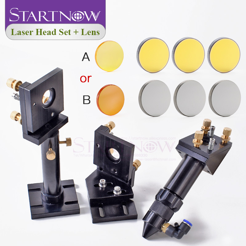 Kit: CO2 Laser Head Set Mounting Holder + 1pc Focusing Lens + 3pcs Si / Mo Reflective Mirrors For Engraver Cutting Machine Parts