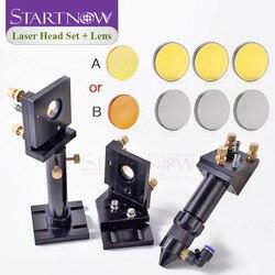 Kit: conjunto de cabeça do laser co2 suporte de montagem + 1pc lente de focagem + 3pcs si/mo espelhos reflexivos para peças da máquina de corte do gravador