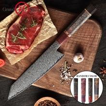 8.2 Polegada damasco faca de cozinha artesanal vg10 japonês aço damasco kiritsuke faca de cozinha caixa presente grandsharp