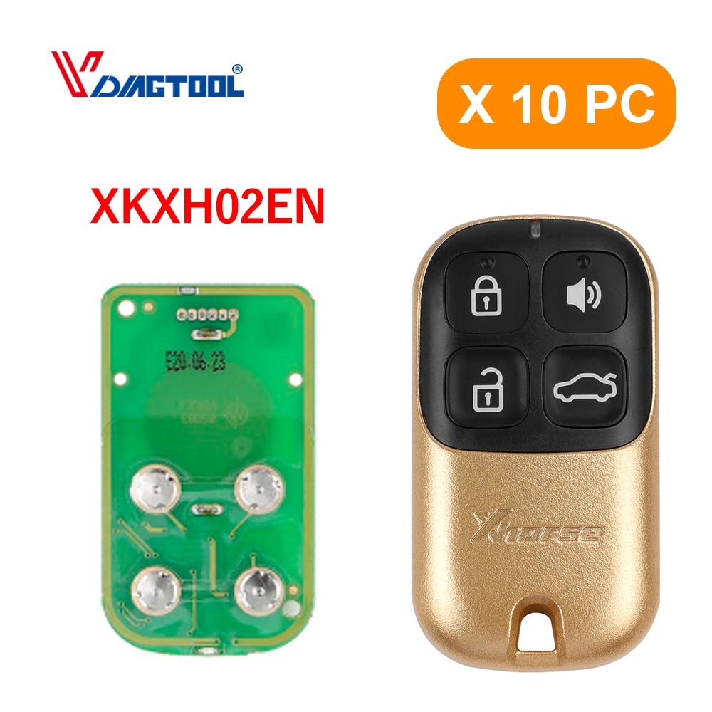 10 шт./лот XHORSE XKXH02EN универсальный пульт дистанционного управления 4 кнопки Золотой стиль Английская версия для VVDI инструмент для ключей
