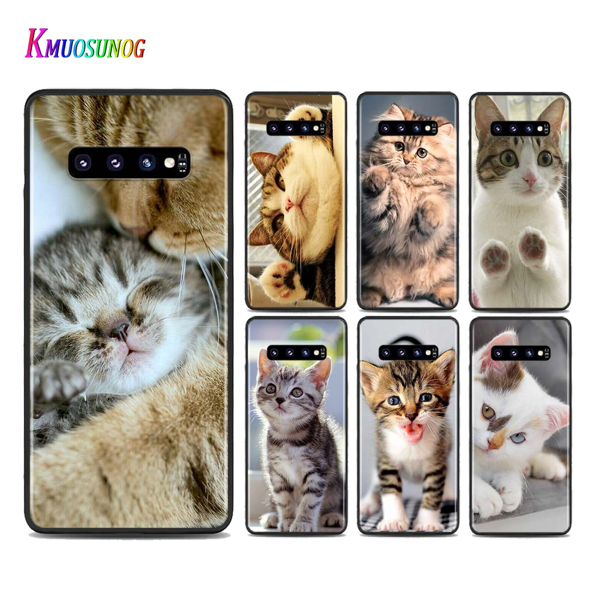 Silicone Black Cover <font><b>Funny</b></font> Kitten Cat for <font><b>Samsung</b></font> Galaxy <font><b>Note</b></font> 10 Pro <font><b>9</b></font> 8 Plus S10 5G S9 S8 S7 Plus S6 Phone <font><b>case</b></font> image