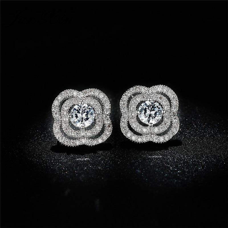 Luxury Crystal Flower Earring White Gold Yellow Rose Gold Color Vintage White Zircon Geometric Wedding Stud Earrings For Women