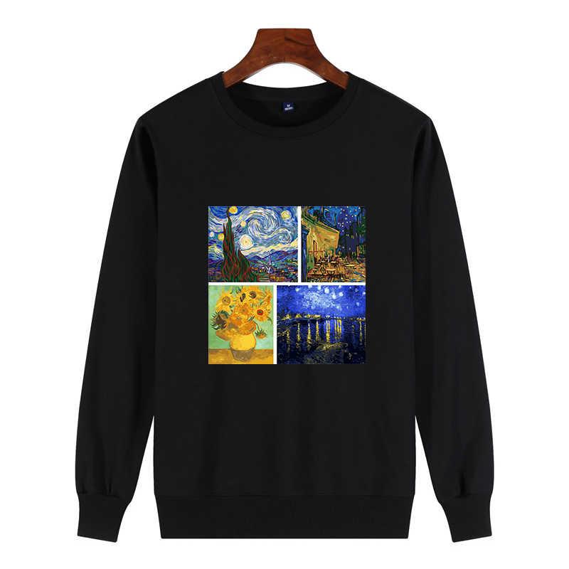 Mới Nam Cotton Áo Kpop Thời Trang Thẩm Mỹ Van Gogh Nghệ Thuật Sơn Dầu Bông Tai Kẹp Michelangelo Ulzzang Vintage Nam Chui Đầu