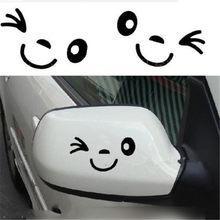 Pegatina reflectante bonita sonrisa para coche pegatina para espejo retrovisor diseño de coche dibujos animados cara sonriente pegatina para todos los coches