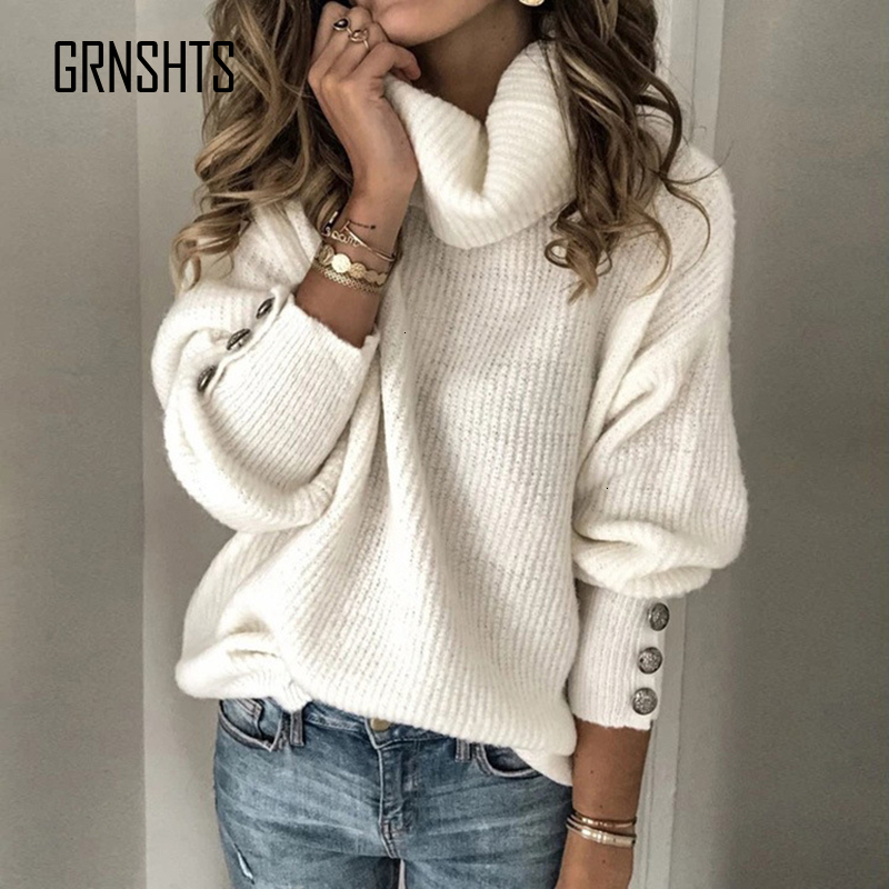 2019 Size Plus High Neck Sweater Women's Fashion Diver Warm Knitting Sweater Winter Long Sleeve Mouth Riveted Sweater Sexy Top