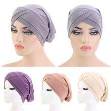 Muslim Pleated Turban Hat Women Stretch Hair Loss Cover Chemo Cap Islamic Beanie Bonnet Headscarf Head Wrap Solid Color Hat Cap