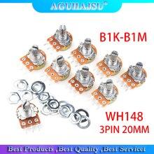 5pcs WH148 3PIN 20MM Single couplet potentiometer With Nuts B1K B2K B5K B10K B20K B50K B100K B250K B500K B1M 1K 2K 5K 10K 100K