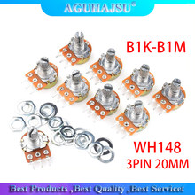 5pcs WH148 3PIN 20MM Single couplet potentiometer With Nuts B1K B2K B5K B10K B20K B50K B100K B250K B500K B1M 1K 2K 5K 10K 100K