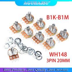 5 шт. WH148 3 контакта 20 мм одиночный парный потенциометр с гайками B1K B2K B5K B10K B20K B50K B100K B250K B500K B1M 1K 2K 5K 10K 100K