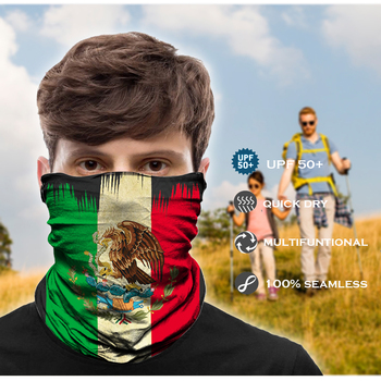 Seamless Bandana Mask Scarf Tube Buff Neck Gaiter Hunting Facemask Balaclava Headwear Army Military tour de cou Mexico USA Flag 1