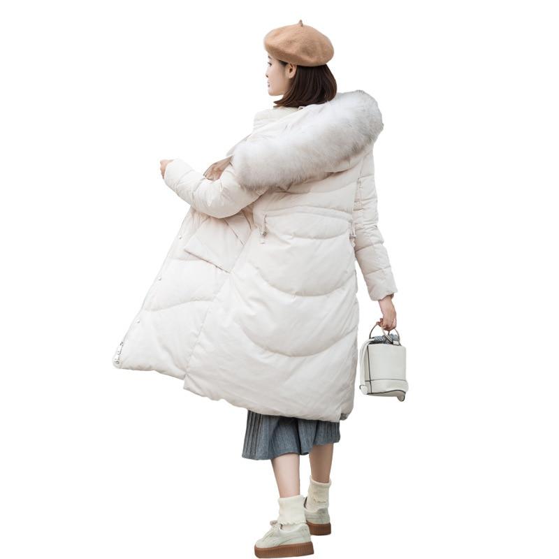 Winter Female Duck Down Jacket + Natural Raccoon Fur Thick Warm Women's Down Jacket Fashion Ladies Long Coat Hiver L1001
