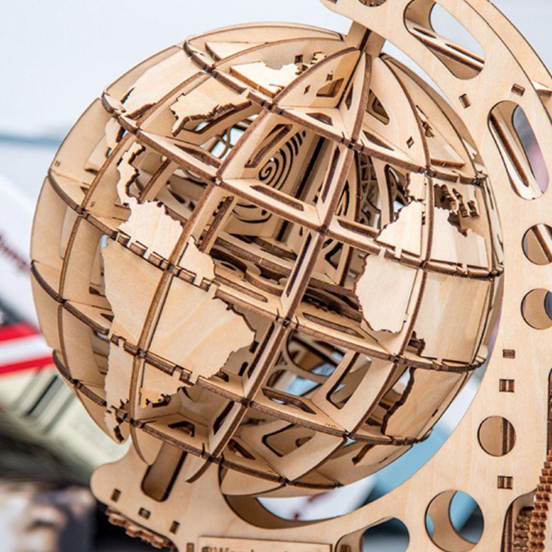 3d de madeira globo quebra-cabeça diy unidade