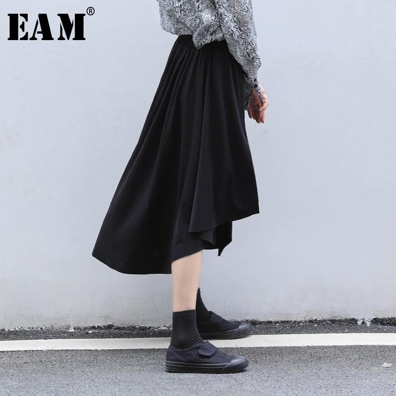 [EAM] High Elastic Waist Black Asymmetrical Split Temperament Half-body Skirt Women Fashion Tide New Spring Autumn 2020 1N626