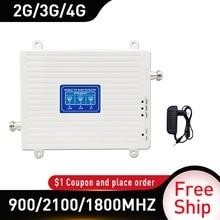 900 1800 2100 MHz Di Động Khuếch Đại Trị Ban Nhạc Repeater GSM 4G Repeater DCS WCDMA 2G 3G 4G Repeater LTE Di Động Tăng Cường Tín Hiệu