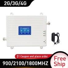 900 1800 2100mhz amplificateur Mobile triple bande répéteur GSM 4G répéteur DCS WCDMA 2G 3G 4G répéteur LTE amplificateur de Signal cellulaire