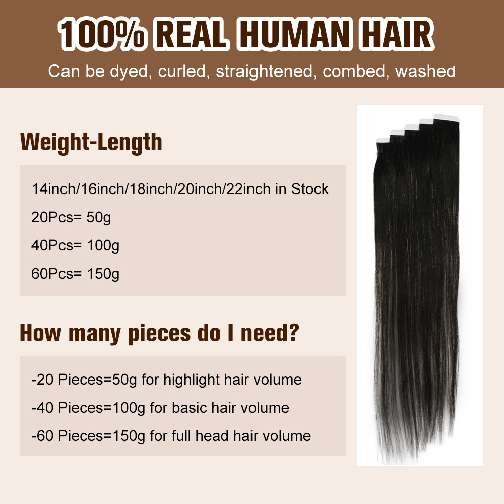 Full Shine Tape in Human Hair Extensions Pure Blonde Colorful Hair 20pcs Adhesive Skin Weft Glue on Hair Machine Made Remy