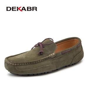 Image 1 - DEKABR en cuir véritable hommes chaussures de luxe marque décontracté sans lacet mocassins formels hommes mocassins hommes conduite chaussures mocassins chauds