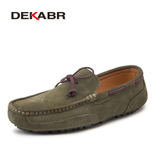 DEKABR zapatos de piel auténtica para hombre, mocasines informales sin cordones, mocasines cálidos para conducir