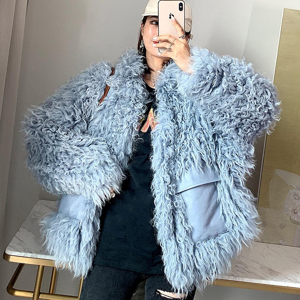 Frauen echte Mongolei Lamm große Pelzkragen Schals Chic Stil warme Pelzschals