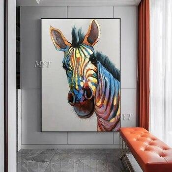 Сильный олень, много цветов, абстрактная картина маслом на холсте, ручная краска, Настенная картина, Настенный декор