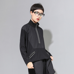 Image 3 - [EAM] Loose Fit Black Line Split Big Size Sweatshirt New High Collar Long Sleeve Women Big Size Fashion Spring Autumn 2020 1A530