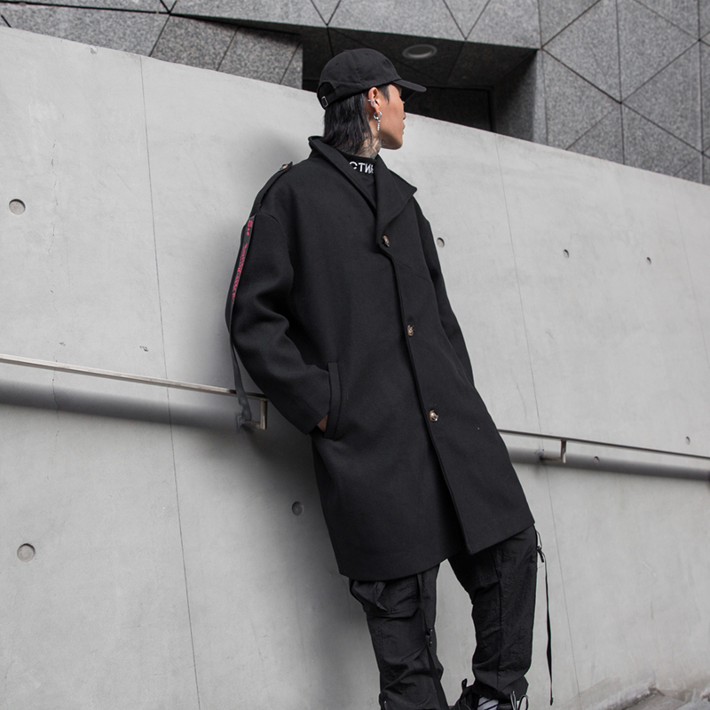 Yayu Mens Wool Blend Single Breasted Leisure Mid Long Solid Trench Coat
