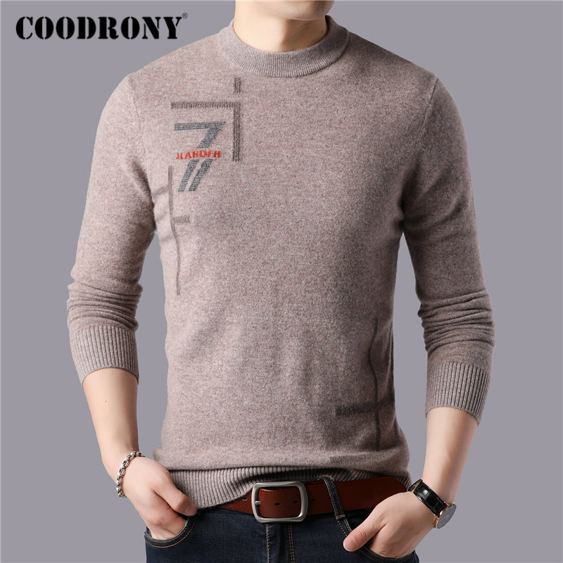 COODRONY Brand 100% Merino Wool Sweater Men Casual O-Neck Pull Homme Winter Thick Warm Soft Cashmere Sweaters Pullover Men 93051