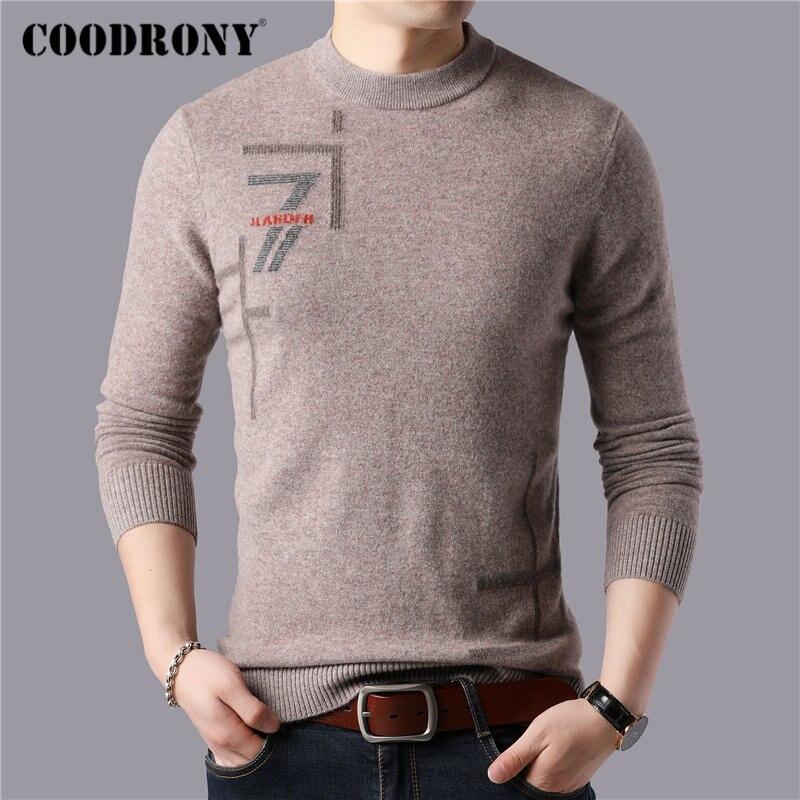 Coodrony marca 100% merino lã suéter masculino casual o-pescoço puxar homme inverno grosso quente macio cashmere suéteres pulôver masculino 93051