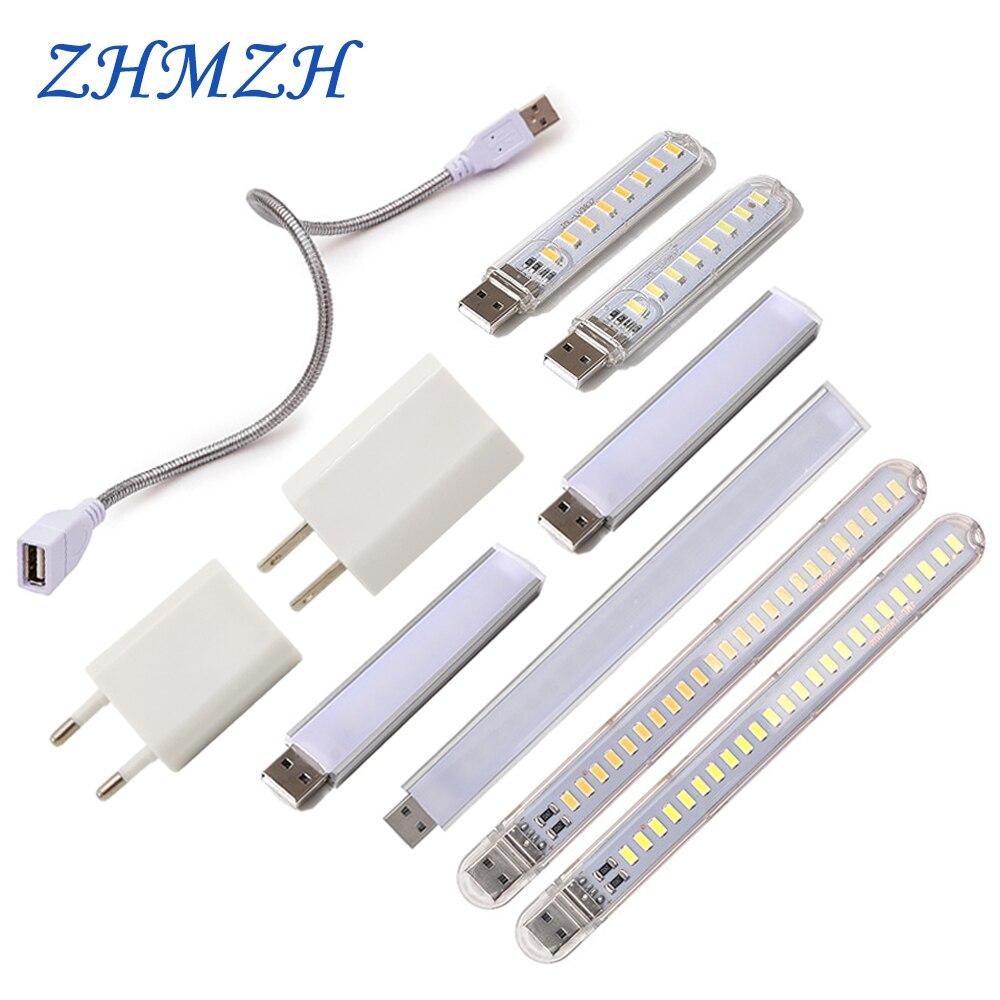 DC5V Mini USB LED Night Light 3LEDs 8LEDs 10LEDs 24LEDs Book Lamp Extension Pole US Plug Adapter For Reading Notebook Power Bank