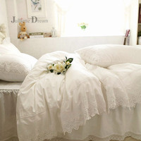 Super Luxury lace bedding set Embroidery layers ruffle duvet cover bed sheet bedspread bed skirt coverlets Wedding decorative