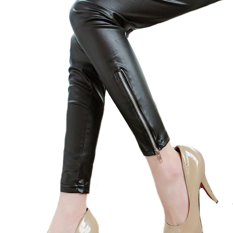 CHSDCSI Spring Autumn Women Leather Pants Zipper Sexy   Leggings   Black seam Elastic Pencil Pants Casual Leggins PU   Legging