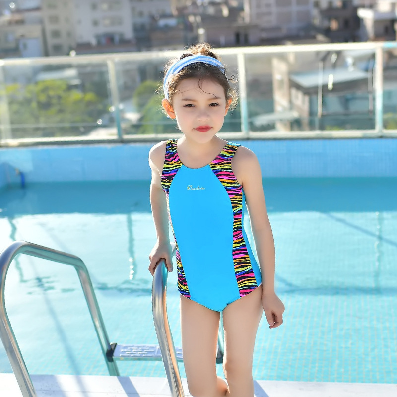 South Korea New Style KID'S Swimwear GIRL'S Big Boy Simple One-piece Vest Style Industry Version Swimming Training Suit Quick-Dr
