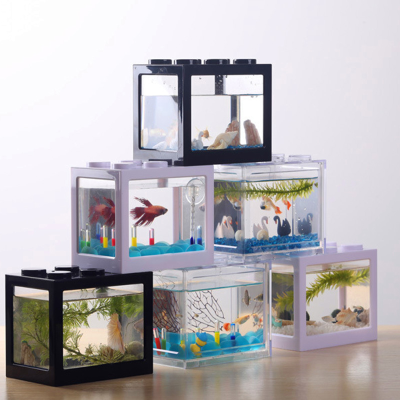 Mini Fish Tank Betta Fish Mini Aquarium Creative Building Block Fish Tank Home Office Tea Table Decoration Feeding Box Hot Sale