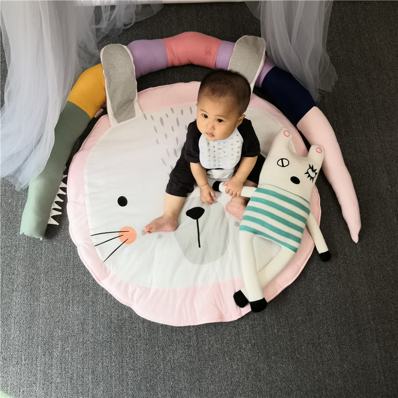 H20a052fafc7f481fba2871403aac43b3X Child Play Mats kids animal Crawling Carpet Floor Rug Baby soft cotton sleeping Game rugs Children Room Decor Photo Props 90CM