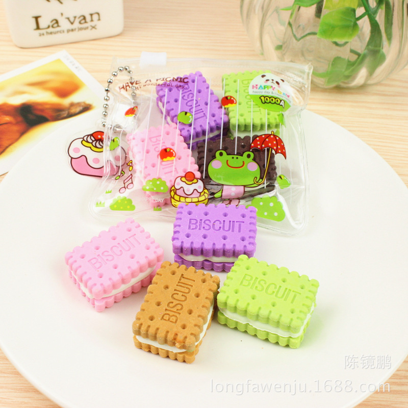 4Pcs/Lot Cute Cartoon Cookie Biscuit Rubber Eraser Set Candy Color Student Kids Gift School Office Supplies