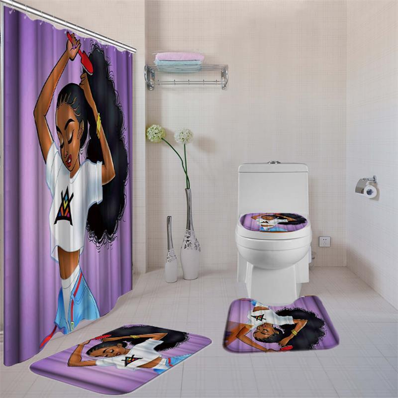 4Pcs Bathroom Santa Claus Shower Curtain Non Slip Lid Toilet Cover Rugs Mat Set