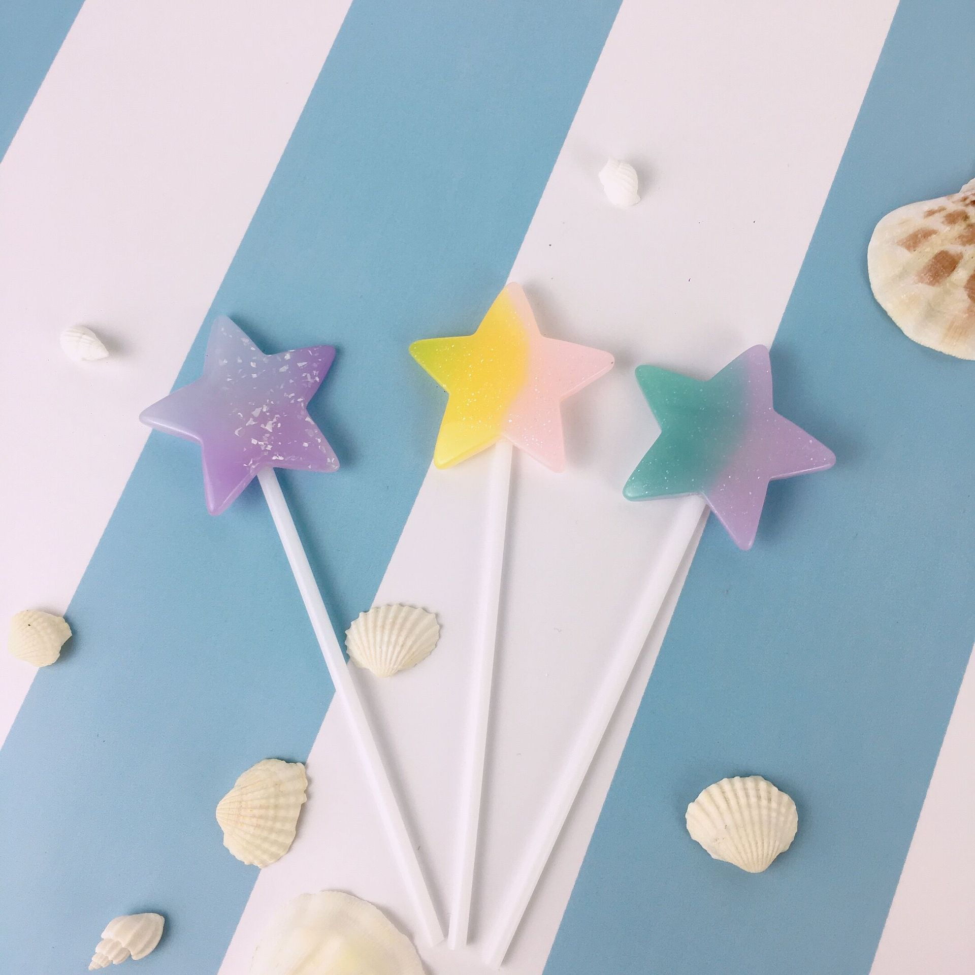 1 Set Summer Ocean Resin Shell Mermaid Theme Star Love Heart Cake Topper Mermaid Decoration Birthday Party Supplies in Cake Decorating Supplies from Home Garden