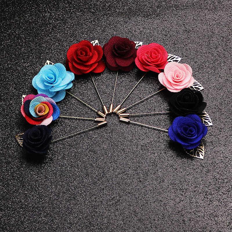 3D Kumaş Çiçek Takım Elbise Broş Yaka Altın Yaprak Püskül Pin Düğün Zincir Takı Erkekler Takım Elbise Dekorasyon Bijoux
