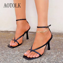 Sandals For Women Summer Shoes Sexy luxurious Gladiator Sandals Female Square Open Toe Flip Flop Thin High Heels New Arrivals dorisfanny open toe thin heel women s sandals 2017 summer gladiator woman shoes sexy high heels sandals us size 3 5 14