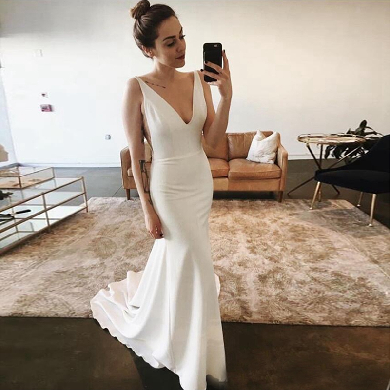 Fashion Deep V-neck Mermaid Wedding Dresses Simple White/Ivory Bridal Gown Vestidos De Novia Customized Bride Dress Gelinlik