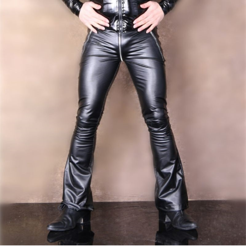 Low-waisted Slim Latin Flared Pants PVC Latex Ammonia Faux Leather Punk Legging Zipper Front Trousers Glossy Shiny Pencil Pants image