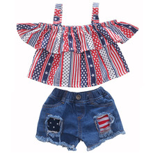 1-6Y girls clothes toddler girl 4th of July summer outfits children gir stripeds&stars ruffle crop top+short jeans pants