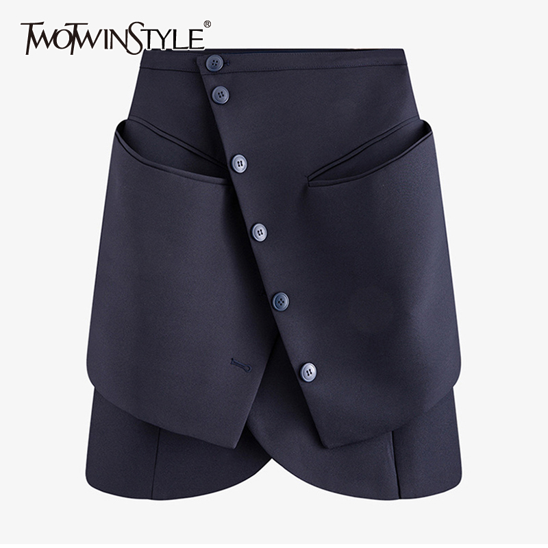 TWOTWINSTYLE Asymmetrical Patchwork Skirt For Women High Waist Button Pocket Skirts Female 2020 Summer Fashion New Clothing
