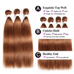 Image 5 - 30 Brown Human Hair Bundles Brazilian Straight Human Hair Weave Bundles 8 26 inch Ombre Burgundy Non Remy Hair Extension 1PC