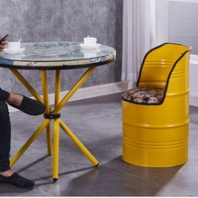 Silla de cubo de hierro Vintage Barra de aceite de viento industrial tambor de hierro taburete creativo snack bar almacenamiento Silla de comedor Cubo de pintura taburete