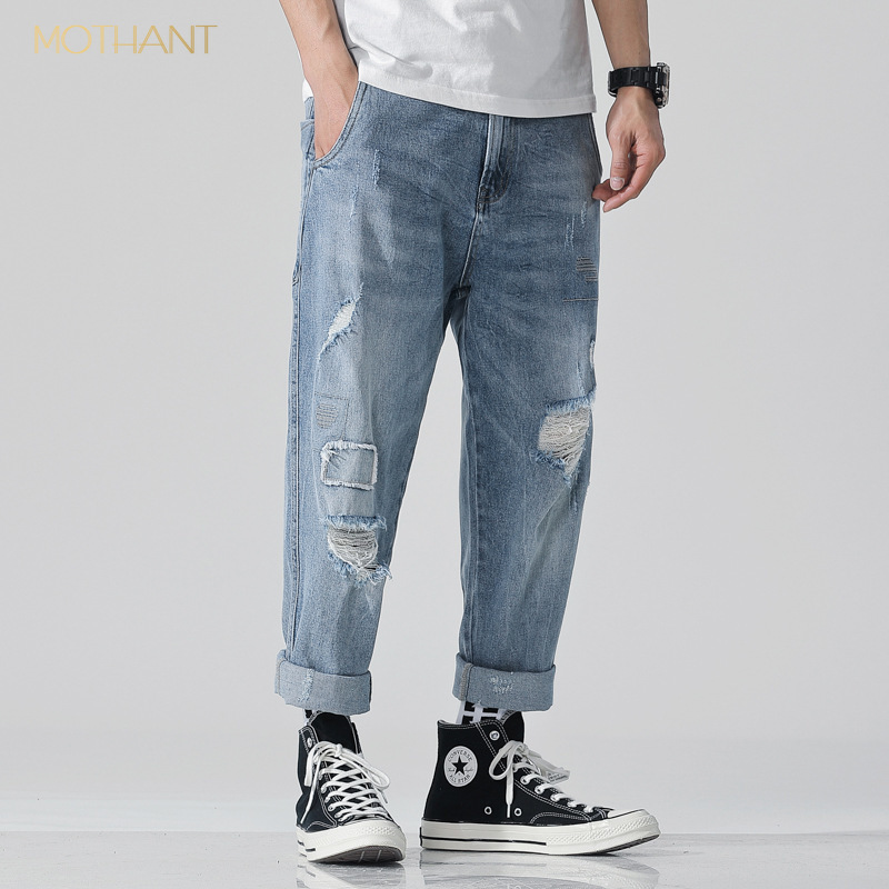 Spring And Summer New Hole Patch Cloth Large Size Jeans Male Youth Loose Japanese Worn Harem Pants Male Tide Hip Hop Jeans