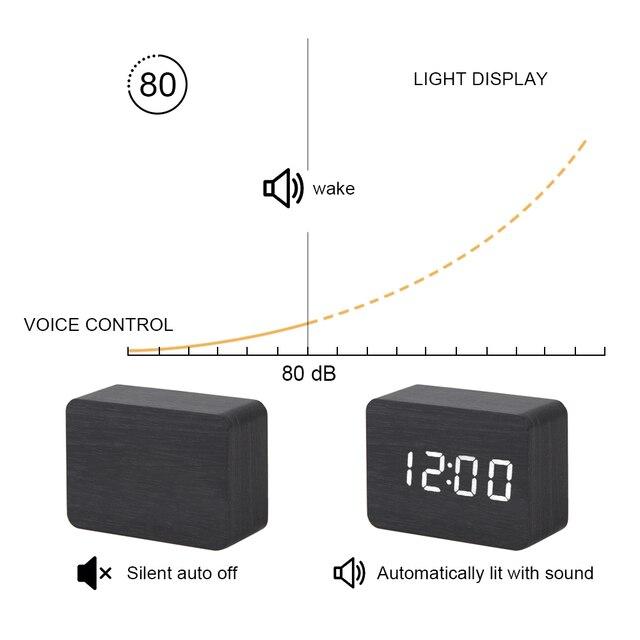 LED Wooden Clock Digital Alarm Clocks Desktop Table Clocks Electronic Voice Control Temperature Display Despertador Home Decor 6