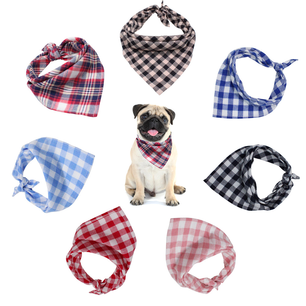 Pet Triangular Scarf Dog Scarf Classic Plaid Small And Medium-sized Dogs Bibs Neckerchief Pet Scarf Pet Clothes